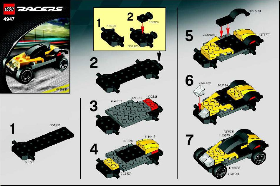 Instructions For 4947 1 Yellow And Black Racer Bricksgz